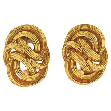 Tiffany and Co. 1960s Twisted Knot Gold Earrings For Sale at 1stDibs