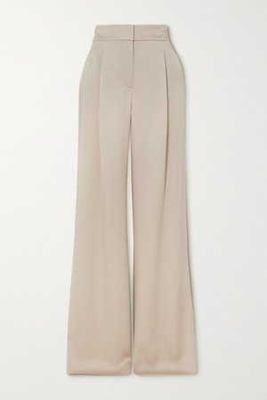 Robinne Satin-crepe Wide-leg Pants - Beige