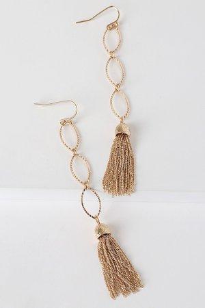 Gold Tassel Earrings - Dainty Drop Earrings - Minimalist Earrings