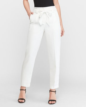 High Waisted White Paperbag Ankle Pant | Express