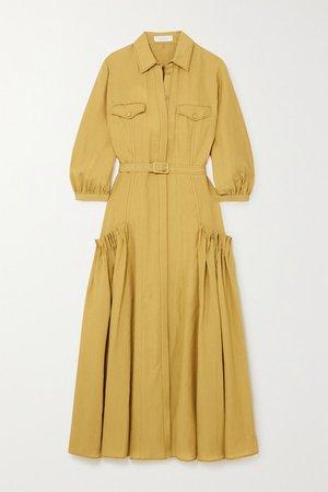Woodward Belted Gathered Linen Shirt Dress - Mustard