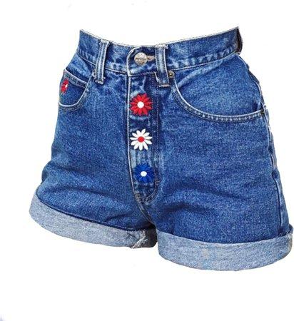 jean shorts flower buttons