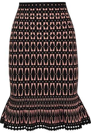 Stretch Jacquard-knit Skirt - Black