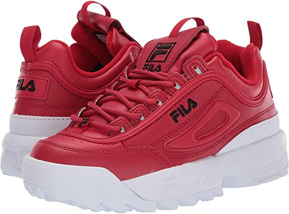 FILA WOMENS DISRUPTOR II PREMIUM SNEAKER IN RED