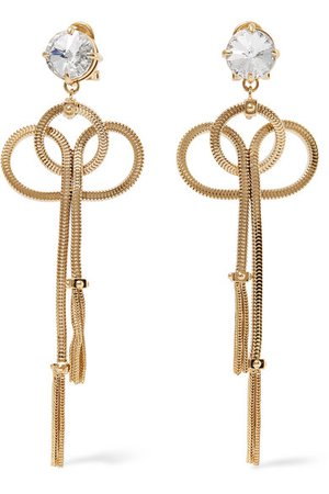Prada | Gold-tone and crystal clip earrings | NET-A-PORTER.COM
