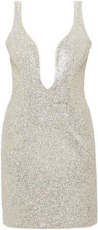 Mach & Mach Glitter Short Dress With Open Heart