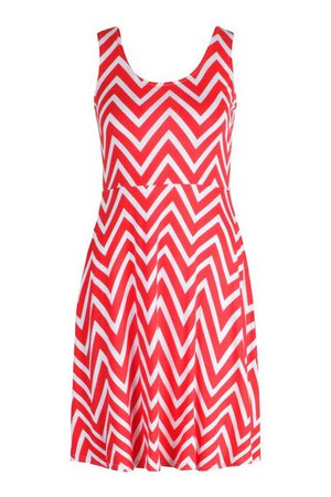 Zigzag Skater Mini Dress | boohoo