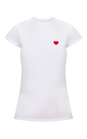 White Love Heart Jersey T Shirt | Tops | PrettyLittleThing USA
