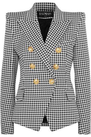 Balmain   Double-breasted houndstooth cotton-blend jacquard blazer   NET-A-PORTER.COM