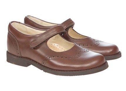 Panache School Shoes Maxine hook & loop Mary Jane Brown Leather