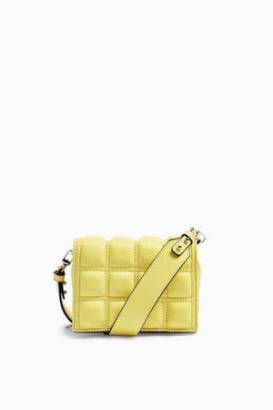 WEBB Lime Green Square Quilted Mini Cross Body Bag | Topshop
