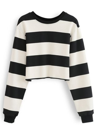 Black and White Stripes Cropped Sweatshirt - Retro, Indie and Unique Fashion