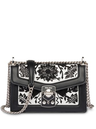 Miu Miu Embroidered Shoulder Bag - Farfetch