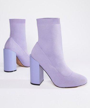 Purple velvet ankle boots
