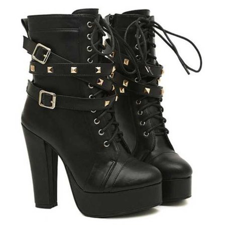 Black Leather Platform Lace-Up Ankle Strap High Heel Boots