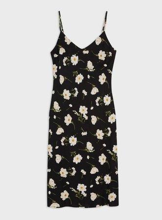 Black Daisy Printed Slip Dress   Miss Selfridge