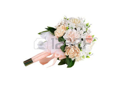 Pastel Coloured Artificial Peach Wedding Bridal Bouquet On White.. Stock Photo, Picture And Royalty Free Image. Image 50220358.