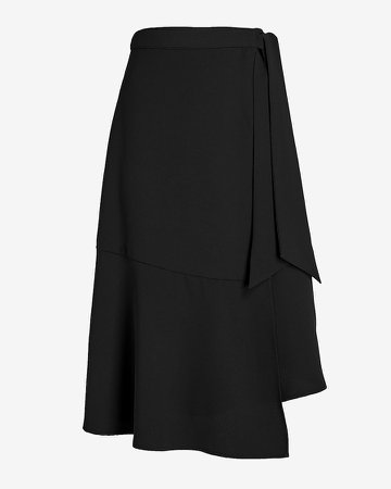High Waisted Wrap Front Side Tie Skirt