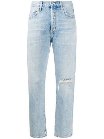 Shop blue Citizens of Humanity Mackenzie cropped mid rise jeans with Express Delivery - Farfetch
