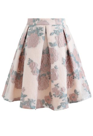 Blooming Rose Jacquard Organza Pleated Skirt - Retro, Indie and Unique Fashion