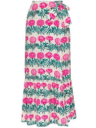 Adriana Degreas Floral-Print Silk Midi Wrap Skirt Ss20 | Farfetch.com