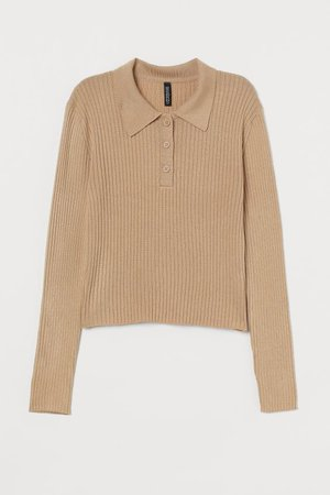 Ribbed Top - Beige - Ladies | H&M US