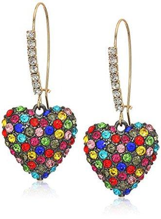Betsey Johnson Stone Heart Long Drop Earrings, Rainbow, One Size: Clothing