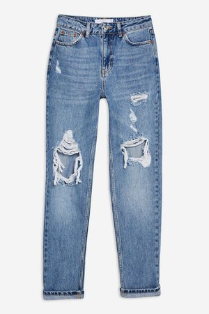 PETITE Destroy Ripped Mom Jeans | Topshop