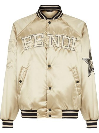 Shop Fendi embroidered logo buttoned bomber jacket with Express Delivery - FARFETCH