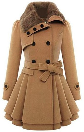 Zeagoo Women's Fashion Faux Fur Lapel Double-Breasted Thick Wool Trench Coat Jacket at Amazon Women's Clothing store