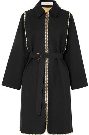 Belted Cotton-twill Coat - Black