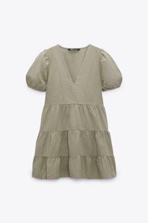 LINEN BLEND TIERED DRESS | ZARA South Korea