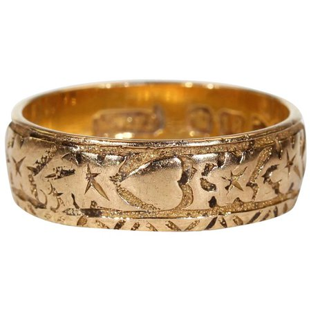 Victorian Gold Engraved Hearts Ivy Leaves Wedding Band Ring : Victoria Sterling | Ruby Lane