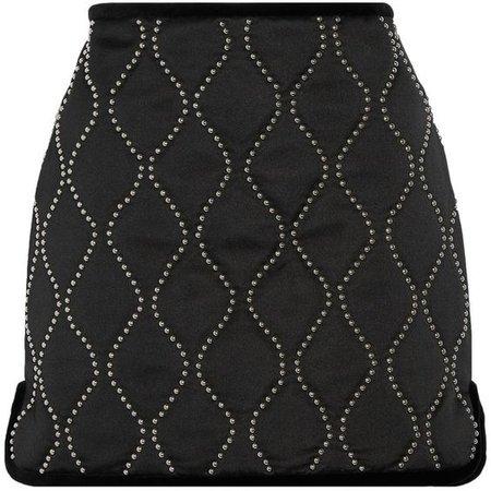Alexander Wang - Velvet-trimmed Embellished Satin Mini Skirt