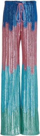 Markarian Ombre Sequin-Embellished Wide-Leg Pants