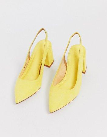 ASOS DESIGN Samson slingback mid heels in pale yellow   ASOS