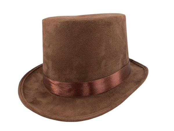 """Steampunk Brown Faux Suede Willy Wonka 6"""" Top Hat Adult Men's Costume Accessory for sale online 