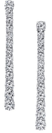 Stick Dangle White gold diamond earring