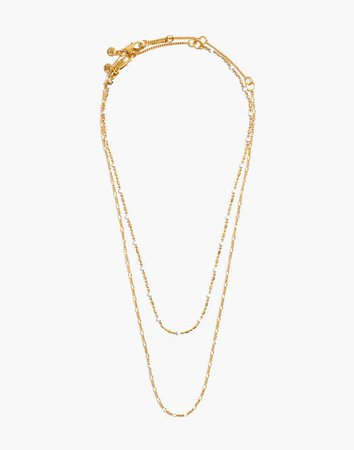 Enamel Bead Chain Necklace Set white