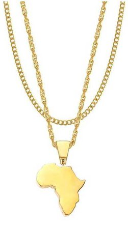 Gold Africa Necklace with Gold Chain