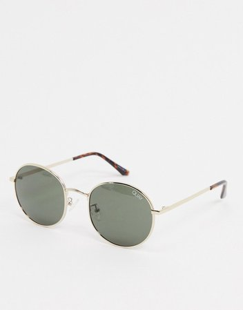 Quay Australia Modstar round sunglasses in gold with green lens | ASOS