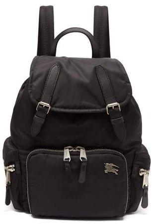 Medium Nylon And Leather Backpack - Womens - Black