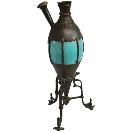 Antique Bronze and Turquoise Ceramic Hookah Pipe For Sale at 1stdibs