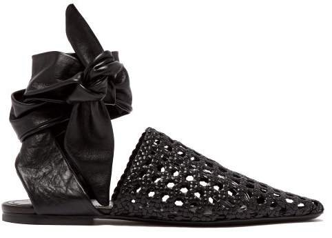 Woven Leather Flats - Womens - Black