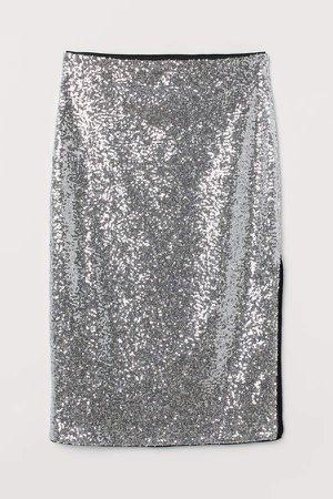 Calf-length Sequined Skirt - Silver