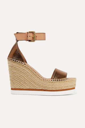 Metallic Leather Espadrille Wedge Sandals - Copper