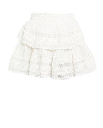 LoveShackFancy   Ruffled Lace-Trim Cotton Skirt   INTERMIX®