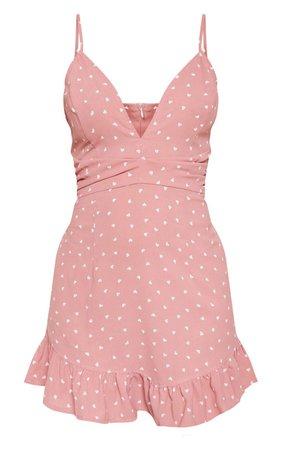 Pink Heart Print Pleated Waist Frill Hem Dress | PrettyLittleThing