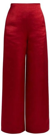 Strom Washed Duchess Satin Trousers - Womens - Red