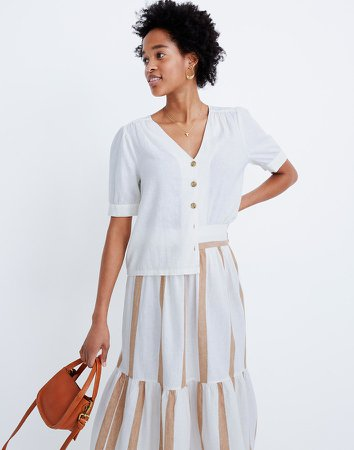 Linen-Blend Plaza Button-Front Shirt